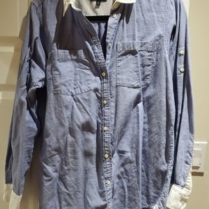 L/s chambray shirt with white collar and cuffs